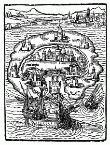 Woodcut of the island of Utopia on frontispiece of the 1st edition of Thomas More's Utopia 1516.