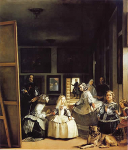 "Diego Velazquez.  Las Meninas (The Maids of Honor), 1656.  Oil on canvas, 10'5"" by 9'  Museo del Prado, Madrid."